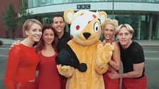 Steps and Pudsey outside BBC Television Centre!