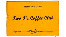 Membership card for the 2i's coffee bar
