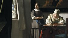 Johannes Vermeer, A Lady Writing a Letter, with her Maid , c.1670