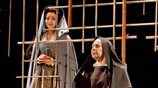 "Isabel Leonard as Blanche de la Force and Felicity Palmer as First Prioress in Poulenc's ""Dialogues des Carmélites."""