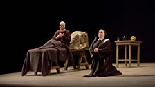 "Felicity Palmer as First Prioress and Elizabeth Bishop as Mère Marie in Poulenc's ""Dialogues des Carmélites."""