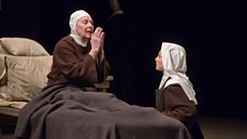 "Felicity Palmer as First Prioress and Isabel Leonard as Blanche de la Force in Poulenc's ""Dialogues des Carmélites."""
