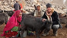 Kate Humble with one of the Wakhi women at milking time.