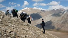 Kate Humble in the Wakhan Valley during the hike up to the Big Pamir...