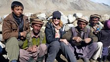 Kate Humble with the Wakhi Shepherds on the way up to the Big Pamir...