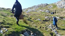 Cathy & Helen climb up  Dun I