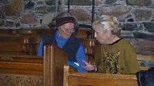 Cathy & Helen Steven inside Iona Abbey