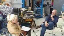 Cathy & John Lowrie Morrison in his studio