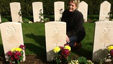 Marielle Plugge van Dalen at graves of Dinghy Young and crew