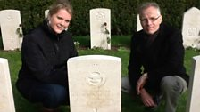 Marielle Plugge van Dalen and dad Jan van Dalen at graves of Dinghy Young and crew