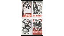 4 x Poster stamps ('Es kommt der Tag !', 'Der Endsieg!', 'Durchhalten!')