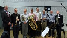 Central Band of the Royal Air Force Brass Quintet, composer Nigel Hess, actor Howard Leader
