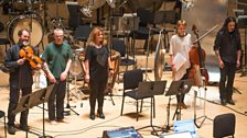 Ana-Maria Avram with her ensemble after performing at the Tectonics Festival