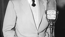 Tyrone Power, star of The Razor's Edge at the BBC in 1950 recording Anything to Declare