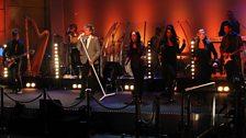 Rod Stewart soundchecks in the BBC Radio Theatre.