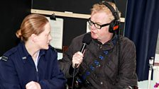 Chris with Fl Lt Sarah James (media & comms officer RAF Scampton)