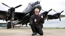 Chris with the Lancaster