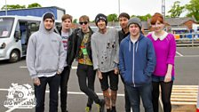 Phil Taggart and Alice Levine with Bring Me the Horizon at Radio 1's Big Weekend
