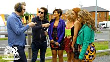 Grimmy backstage with The Saturdays