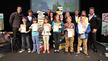 Our Gold, Silver and Bronze winners with the six celebrities who read their stories