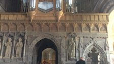 Setting up the nave at St David's Cathedral