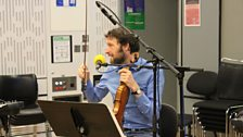 Alasdair Roberts tries playing the Violin in the Late Junction Studio