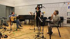 Irvine Arditti (Violin), Elaine Mitchener (Vocals) and Alasdair Roberts (Guitar) in the Late Junction Studio