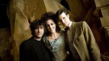 Dr Who writer Neil Gaiman, on set with Suranne Jones and Matt Smith