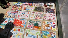 Children's paintings in one of the shelters