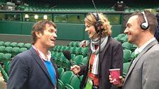 Wimbledon 2013: Pat Cash with Rachel Burden and George Riley