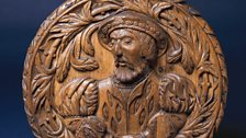 Carved oak head of King James V, Mary Queen of Scots' father