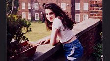 A young Amy outside her Nan's flat in Southgate