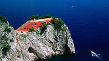 Casa Malaparte on Punta Massullo, on the eastern side of the Isle of Capri, Italy
