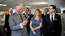 HRH Prince Charles gets to grips with the sonic screwdriver.