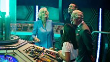 Her Royal Highness The Duchess of Cornwall at the TARDIS controls.