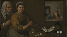 Diego Velázquez, Kitchen Scene with Christ in the House of Martha and Mary, c. 1618