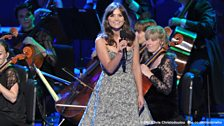 Jenna Coleman, taking part in her first Doctor Who Proms at the RAH.