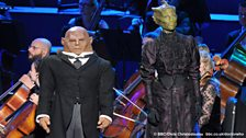 Dan Starkey (Strax) and Neve McIntosh (Vastra).