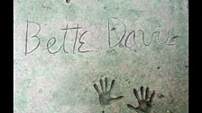 Bette Davis's handprints outside The Chinese Theatre in Los Angeles