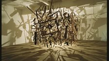 Cornelia Parker, Cold Dark Matter: An Exploded View, 1991; Blown-up garden shed and contents, installation view