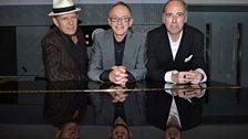Paul Simonon, Nicky 'Topper' Headon and Mick Jones in the Front Row studio