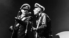 Mick Jones and Paul Simonon performing with Gorillaz at Glastonbury, 2010