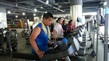 Runners training at a Beijing 'fat camp'