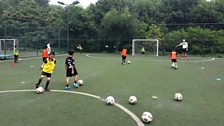 Training at China Club Football FC Summer Camp in Beijing.