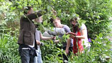 Joe Dempsie (Arthur Seaton) and Natalie Grady (Brenda) going through the forest...