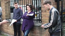 Joe Dempsie (Arthur Seaton), Rachel Atkins (Mrs Bull) and director Carl Prekopp