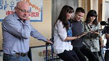 Natalie Grady (Brenda), Joe Dempsie (Arthur Seaton) and Sarah Smart (Winnie), prepare to experience the ghost train...