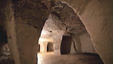 Vaulted roofs and pillars of the Beer Quarry Caves