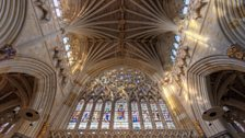 The high ribbed ceilings of Exeter Cathedral, carved from Beer stone