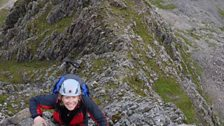 Pennie Latin climbing up Tower Ridge